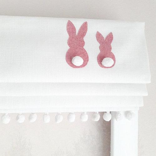 Pink Applique Bunnies Blackout Roman Blind