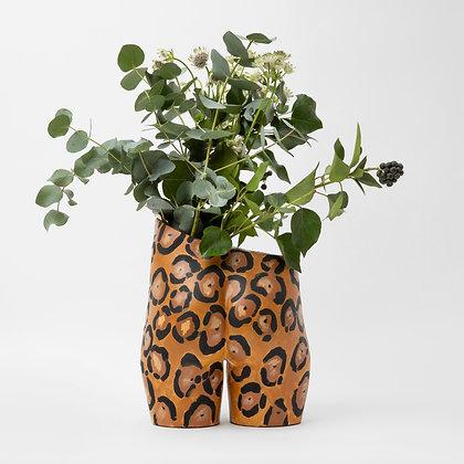 Bloomin' Bum Vase Gold Leopard