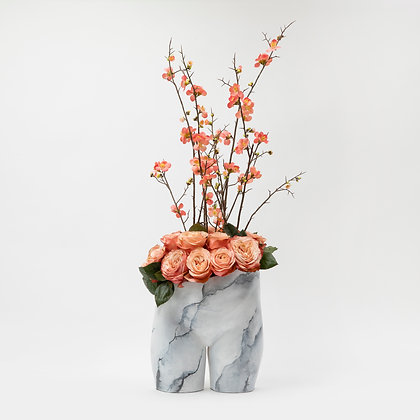 Bloomin' Bum Pot White Marble