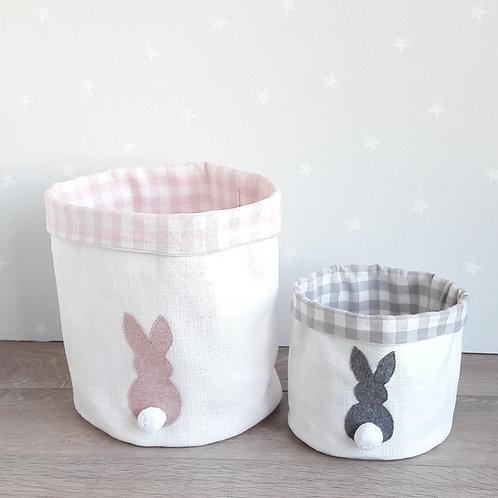 Appliqued Bunnies Fabric Storage Basket