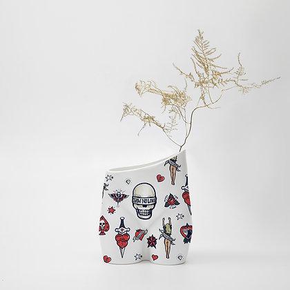 Tattoo Girl White Vase