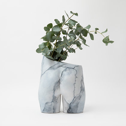 Bloomin' Bum Vase White Marble