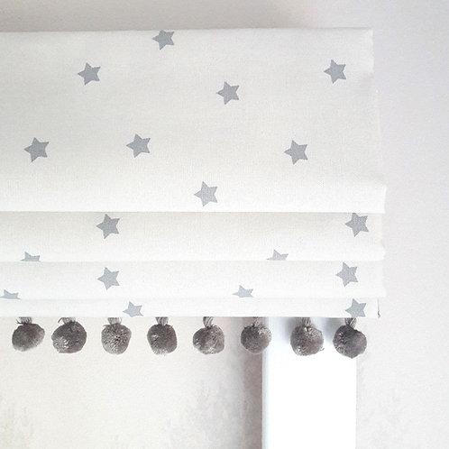 Mini Grey Stars Blackout Roman Blind