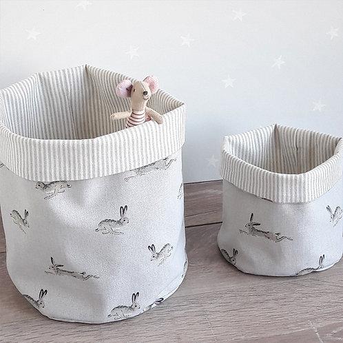 Jumping Hares Fabric Storage Basket
