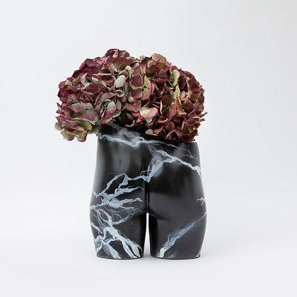 Bloomin' Bum Vase Black Marble