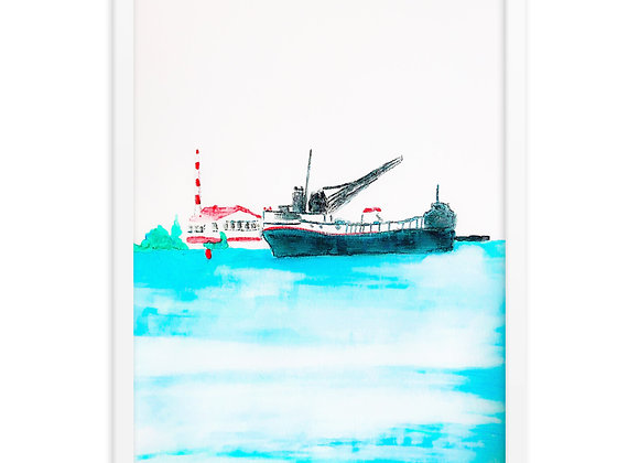 Whimsical Freighter Framed Poster Print