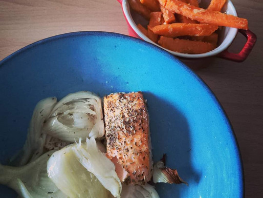 Saumon, fenouils et frites de patates douces