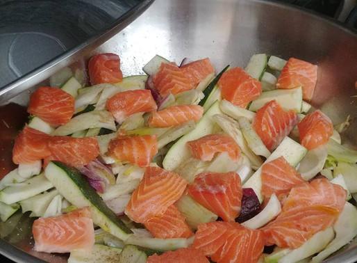 Wok de saumon aux fenouils