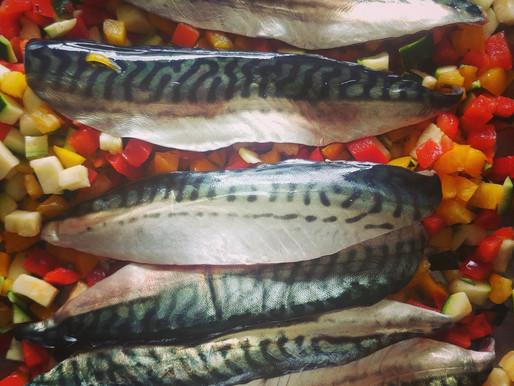 Filets de maquereaux, courgettes et poivrons