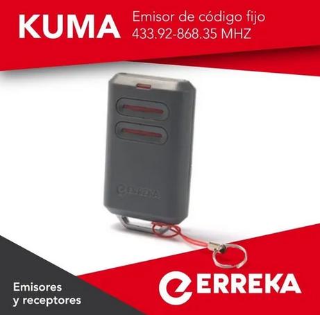 Control ERREKA KUMA EMISOR DE 2 CANALES CODIGO FIJO 433 MHZ