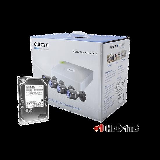 Kit de 4 cámaras infrarrojas EPCOM 720P 1MP y disco de 1TB