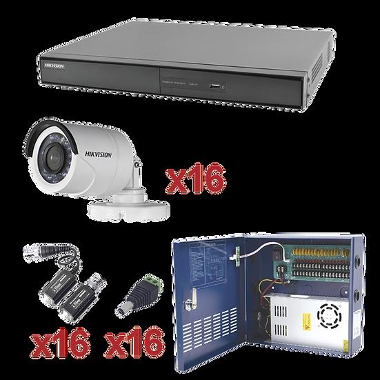 Kit de 16 cámaras de Seguridad Hikvision Full HD 1080P 2.8mm