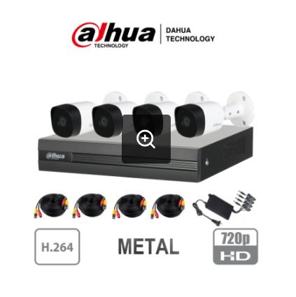DAHUA COOPER- Kit 4 canales 2 Megapixeles/ 4 Cámaras METALICAS 1080p M