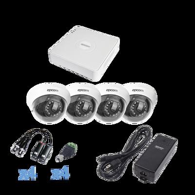 Sistema EPCOM TURBOHD 720p / DVR 4 Canales / 4 cámaras Domo