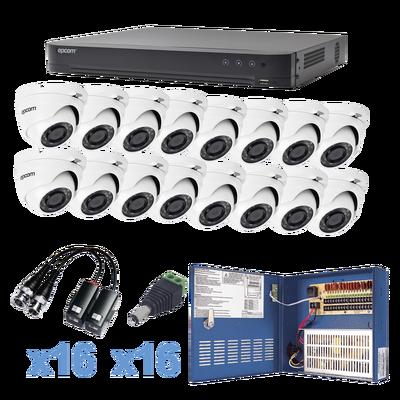 Sistema EPCOM TURBOHD 1080p / DVR 16 Canales / 16 Cámaras Eyeball