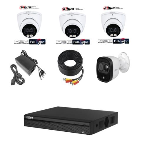 Kit de 3 cámaras siempre color y cámara con alarma SONORA