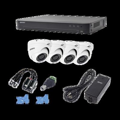 Sistema EPCOM TURBOHD 1080p / DVR 4 Canales / 4 Cámaras Eyeball