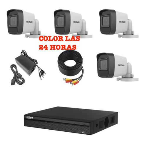 Kit de cámaras 2MP HIKVISION COLOR 24 HORAS DVR Dahua 1080