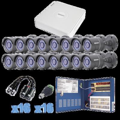 Sistema EPCOM TURBO HD720p, Incluye DVR 16ch / 16 cámaras balas