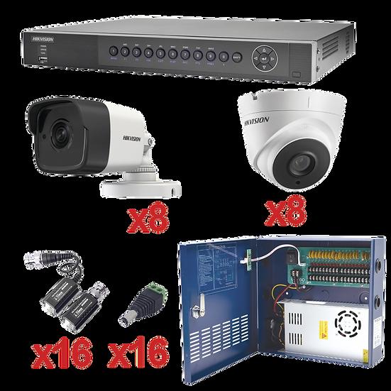 Kit de 16 cámaras de Seguridad Hikvision 3 megapixeles