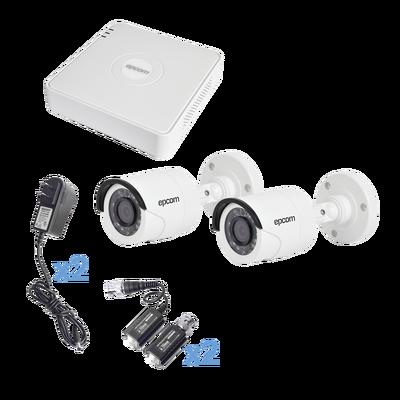 Sistema Hikvision TURBOHD 720p / DVR 4 Canales / 2 Cámaras Bala 3.6 m