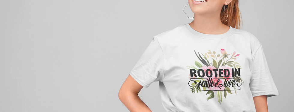 Colorful floral rooted in faith Short-Sleeve  T-Shirt
