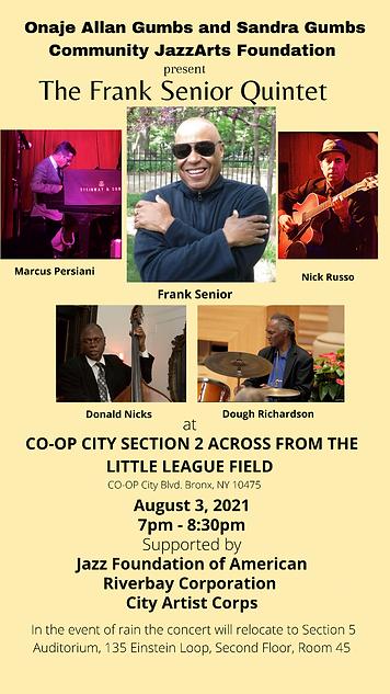 Co-Op City Outdoor Summer Concert Series  Presnts Frank Senior Quartet Aug 3, 2021