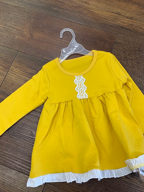 Yellow Lace Long-Sleeved Dress