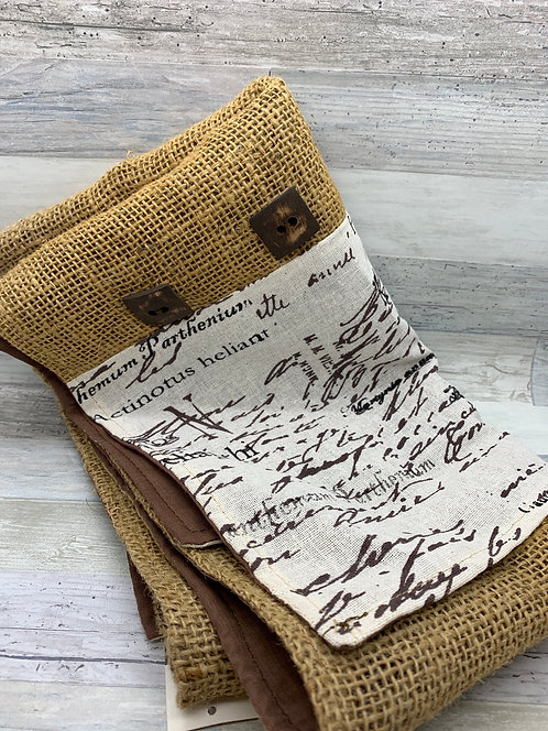 Rustic Newsprint and Canvas Table Runner
