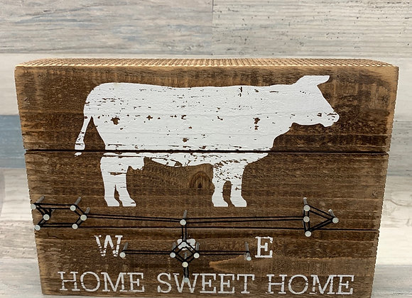Compass Themed Cow Design Home Sweet Home - Sign