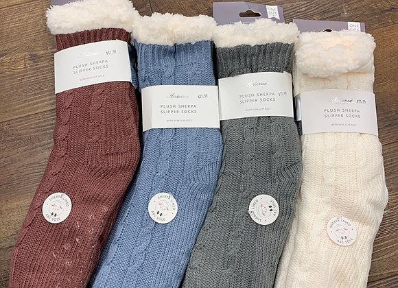 Plush Sherpa Slipper Socks