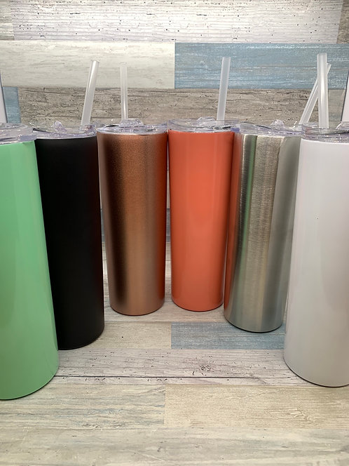 Skinny Stainless Steel Insulated Tumbler with Straw