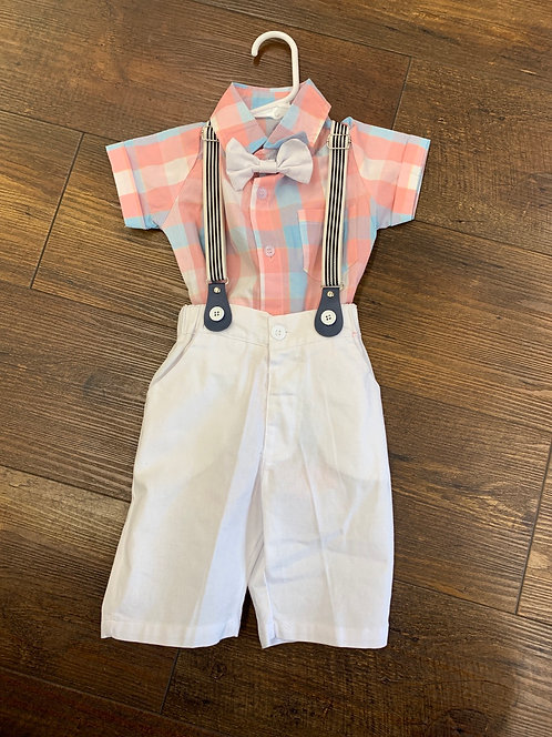 Pastel Plaid Romper with Bow Tie & Suspenders
