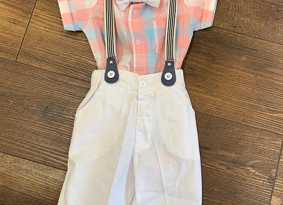 Pastel Plaid Outfit with Bow Tie & Suspenders