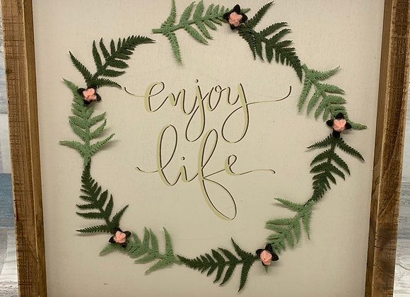 Enjoy Life Decorative Inset Wooden Box Sign