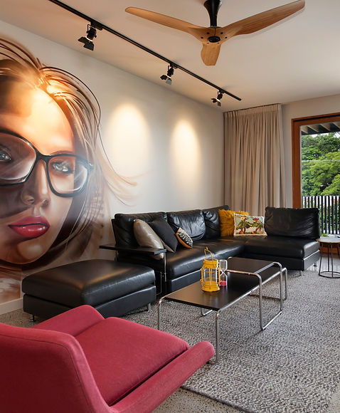 Paddington House Brisbane urban mid century modern design with mural wall