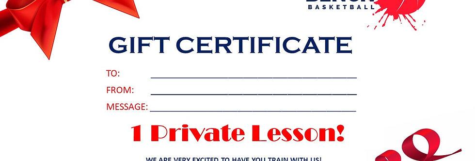 Private Lesson Gift Certificate