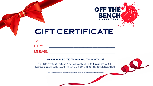 Christmas Stocking Stuffer Certificate - 4 x Small Group Sessions $80 VALUE!