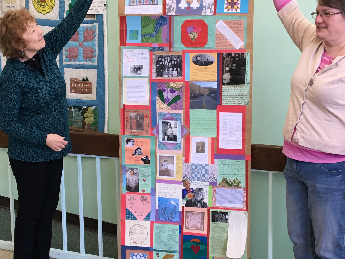 Presentation of our collective familly history quilt at Harry M. Caudill Memorial Library Central in Whitesburg