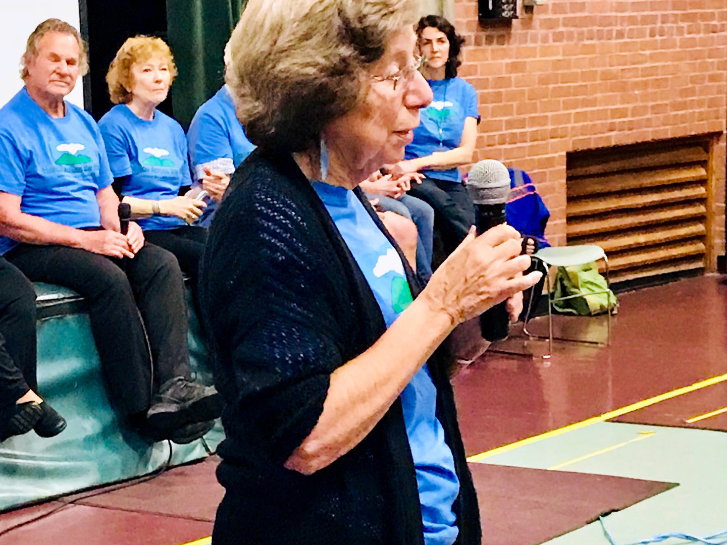 Paula Green fields questions at the May 15th Reflections community meeting