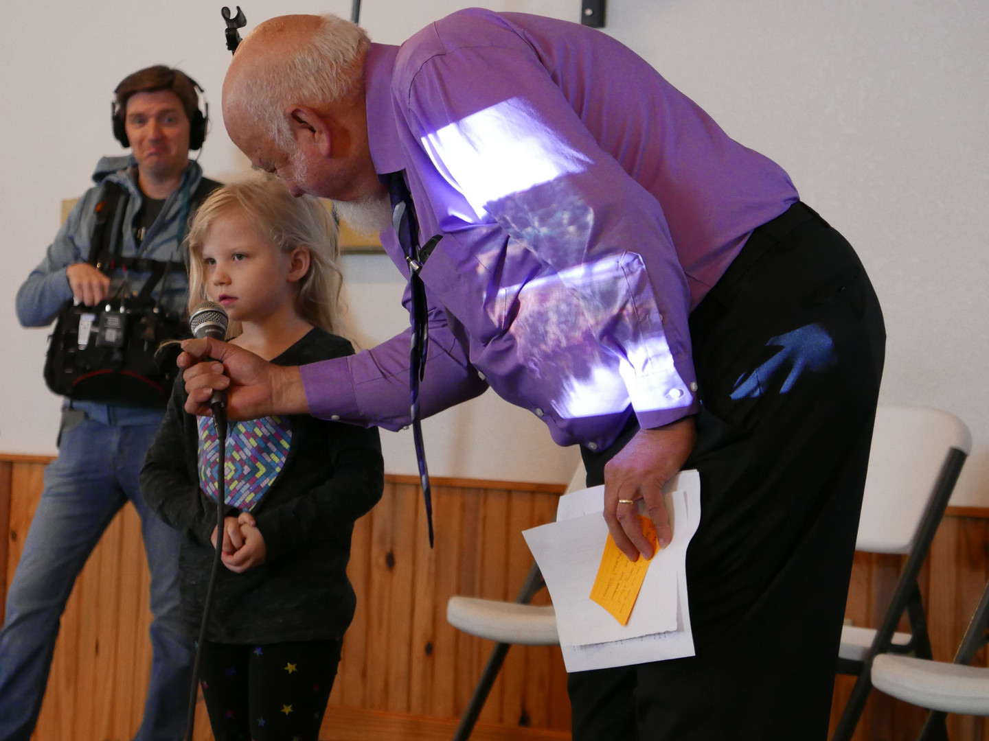 Val's granddaughter has a moment at the mic