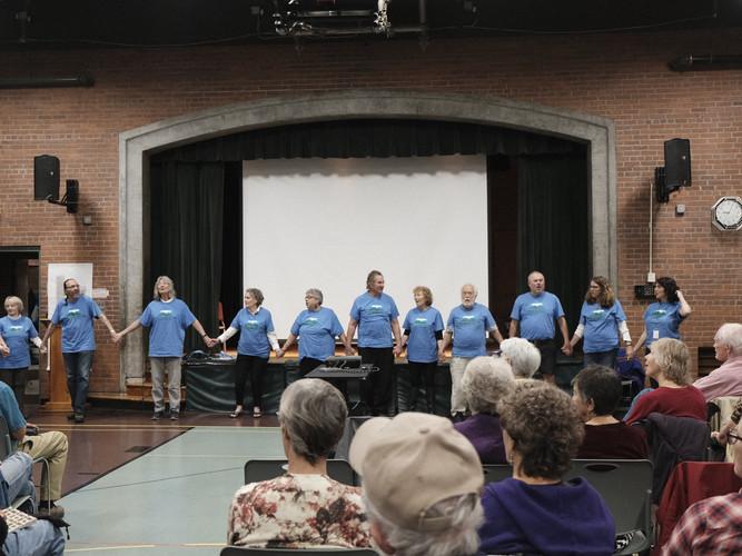 Singing Bright Morning Stars at the closing