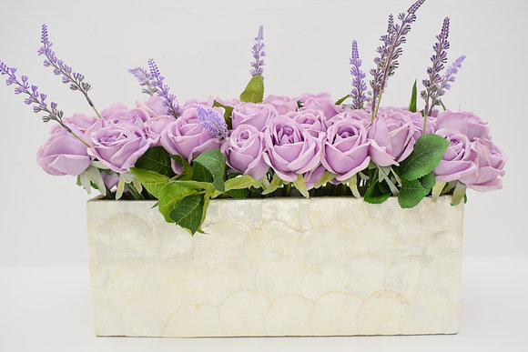 Real Touch Roses in Mother-of-pearl vase
