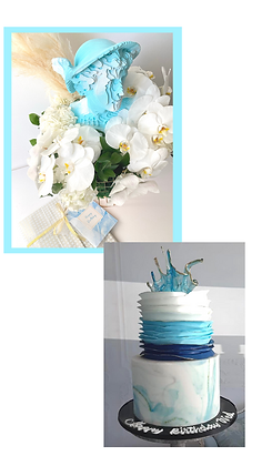 Gift Wrapping with Fresh Flowers, Cake & Greeting Card