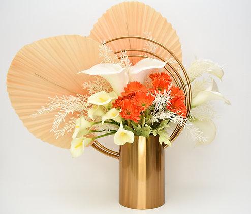Flowers Arrangement in Golden Metal Vase