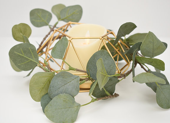 Candle Holder with LED candle included and eucalyptus leaves