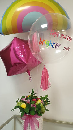 Fresh flowers and balloon bouquet
