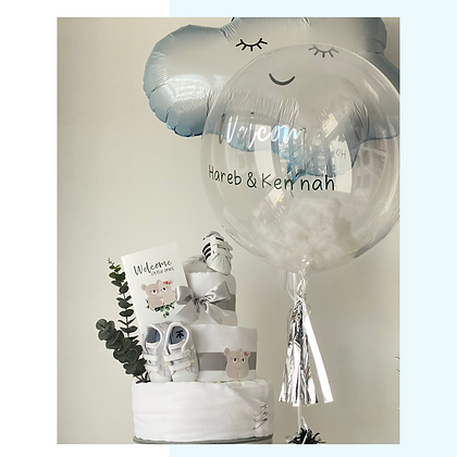 Diaper Cake, Balloons & Greeting Card