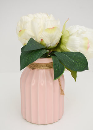 White Peonies in Pink Vase