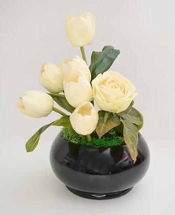 Black ceramic pot with Tulips